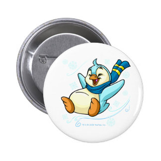 Blue Bruce sliding across ice Pinback Button