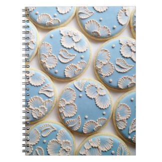 Blue Brush Embroidered Cookies Spiral Notebook