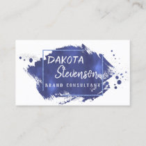 Blue Brush Stroke | Modern Watercolor Splatter Business Card