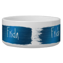 Blue brush strokes design. Name Bowl