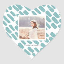 Blue Brush Strokes with Photo and Name Heart Sticker