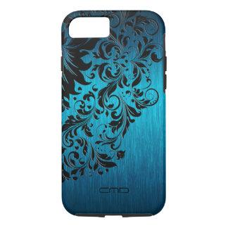 Blue Brushed Aluminum With Black Lace 2 iPhone 7 Case