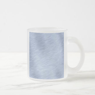 Blue Brushed Metal Textured Frosted Glass Coffee Mug