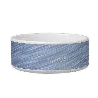 Blue Brushed Metal Textured Cat Bowls