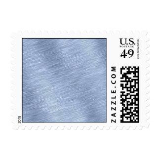 Blue Brushed Metal Textured Postage Stamp