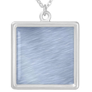 Blue Brushed Metal Textured Silver Plated Necklace