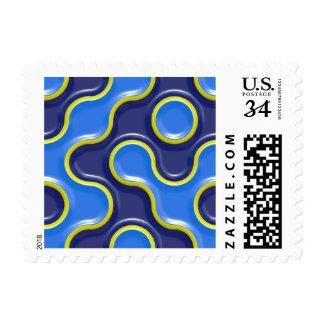 Blue Bubble Curves Wave Pattern Stamp