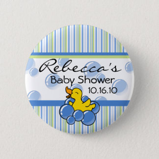 Blue Bubble Ducky Baby Shower Buttons