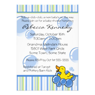Blue Bubble Ducky Baby Shower Invitations