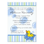 "Blue Bubble Ducky Baby Shower Invitations 5"" X 7"" Invitation Card"