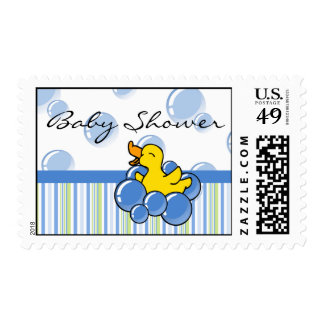 Blue Bubble Ducky Baby Shower Postage