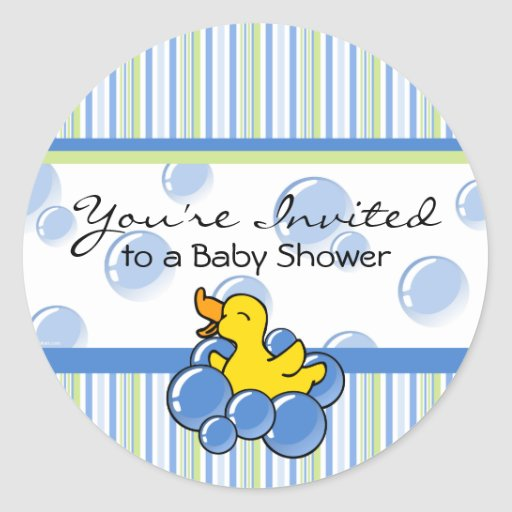 Blue Bubble Ducky Baby Shower Stickers