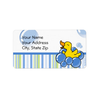 Blue Bubble Ducky Address Label