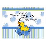 Blue Bubble Ducky Thank You Cards Postcard