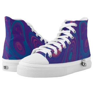 Blue Bubble Gum Hi Top Printed Shoes