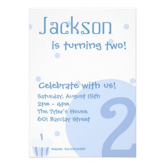 Blue Bubble Invitation, 2nd Birthday