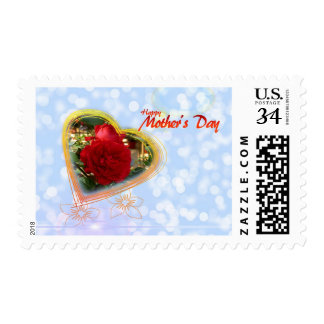 Blue Bubble Red Rose Heart Mother's Day Stamp