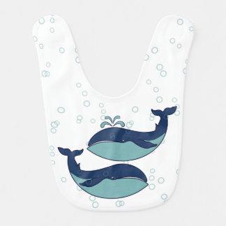 Blue Bubbles & 2 Sperm Whales - Baby Bib
