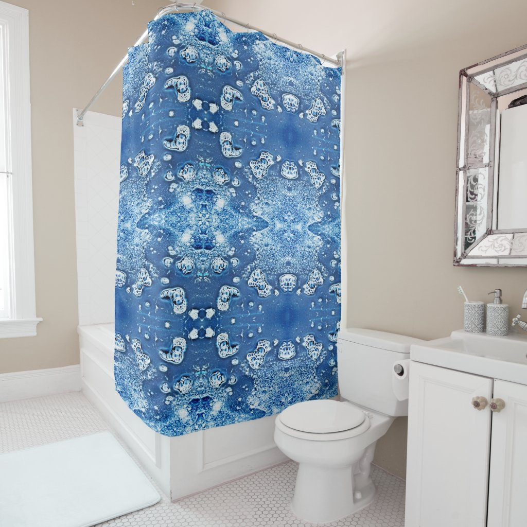 Blue Bubbles Abstract Ice Water Shower Curtain