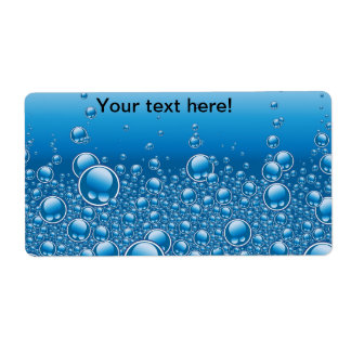 Blue bubbles background personalized shipping label