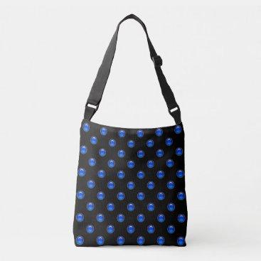 linda_mn Blue Bubbles Black Crossbody Bag