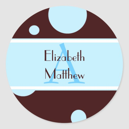 Blue Bubbles Customize Last and First Name Sticker