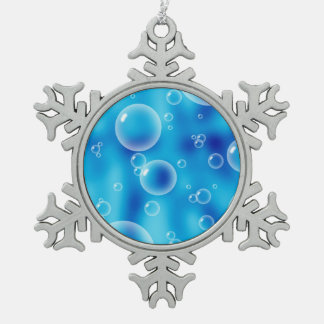 Blue Bubbles Snowflake Pewter Christmas Ornament