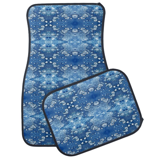 Blue Bubbles Water Abstract Pattern Car Mats
