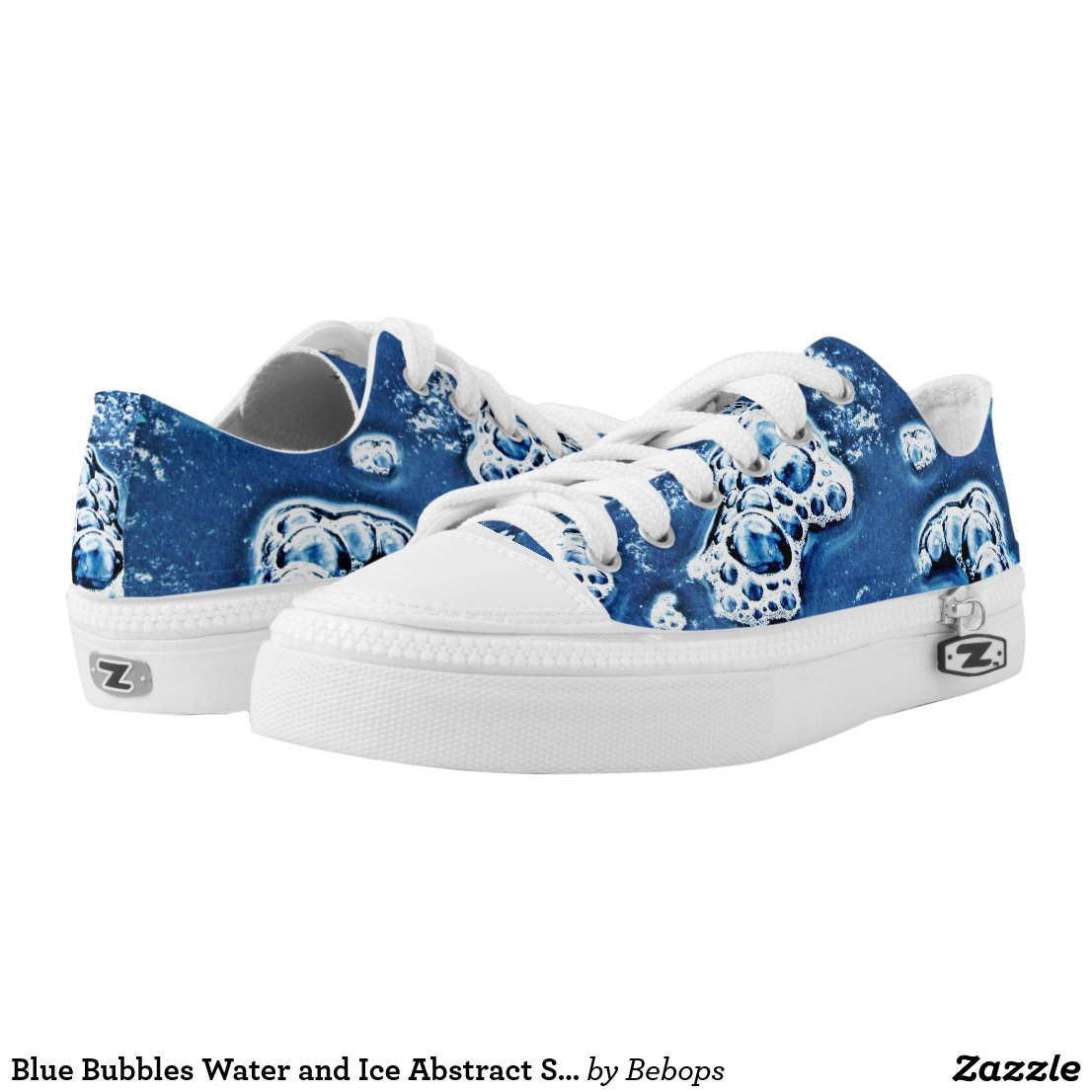 Blue Bubbles Water and Ice Abstract Sneakers