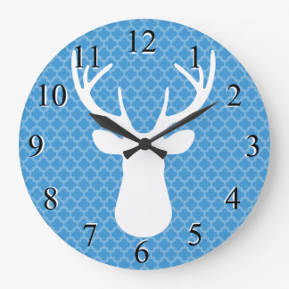 Blue Buck Deer Head Silhouette Wall Clock