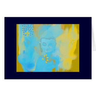 blue buddha card