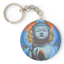 Blue Buddha & Colorful Background Pattern Keychain