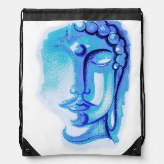 BLUE BUDDHA FACE Drawstring Backpack