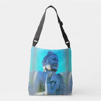 blue Buddha raised hand mudra Crossbody Bag