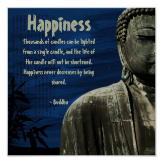 Blue Buddha Statue Square Poster Customizable