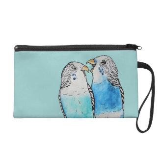 Blue Budgie Bag Watercolour Painting (Customise!) Wristlet Purse