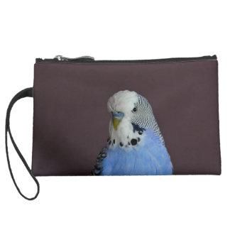 Blue Budgie Bird Animal Suede Wristlet Wallet