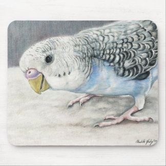 Blue Budgie Parakeet Bird Art Mouse Pad