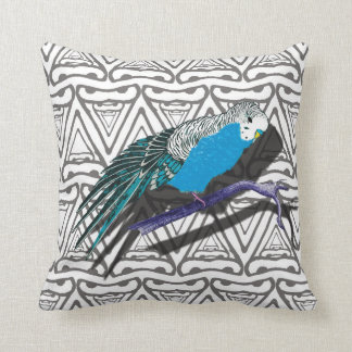 Blue Budgie Parrot Bird Cushion Pillow