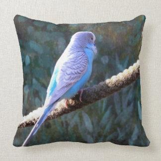 Blue Budgie Throw Pillows