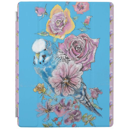 Blue Budgie Watercolor floral iPad Smart Cover