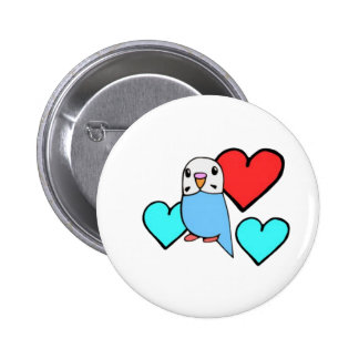 Blue Budgie with Hearts 2 Inch Round Button
