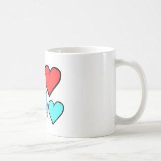 Blue Budgie with Hearts Coffee Mug