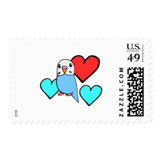Blue Budgie with Hearts Postage