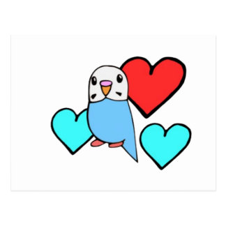 Blue Budgie with Hearts Postcard