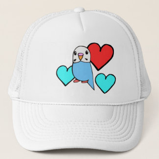 Blue Budgie with Hearts Trucker Hat