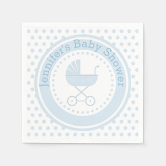 Blue Buggy Baby Shower Paper Napkin