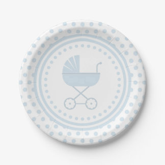 Blue Buggy Baby Shower Paper Plate