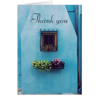 Blue Building Flower Box Thank You Note Card