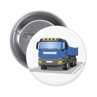 blue building sites truck pinback button